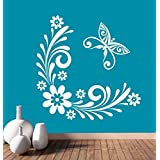 Hoopoe Decor Flowers And Butterfly Wall Stickers And Decals - B011D3IQWQ