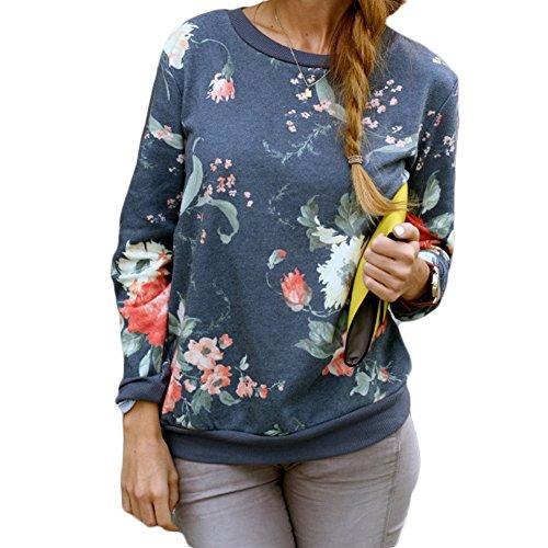 WangsAura Women Girls Fashion Long Sleeve Flower Print Casual Pullover Sweatshirt (Aisan XXL)
