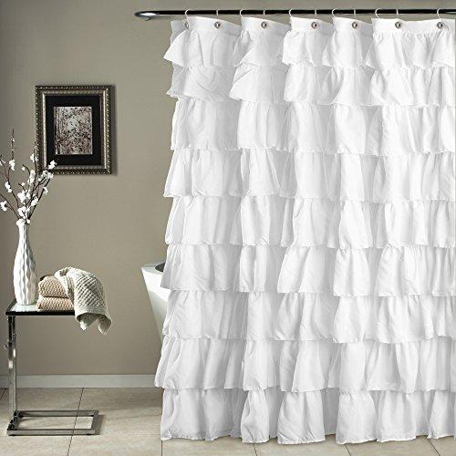Triangle Home Fashions 19211 Lush Decor Ruffle Shower Curtain, White (White Shower Curtain With Ruffles compare prices)