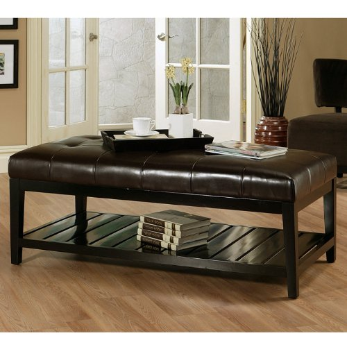 Bicast Tufted Leather Coffee Table Ottoman