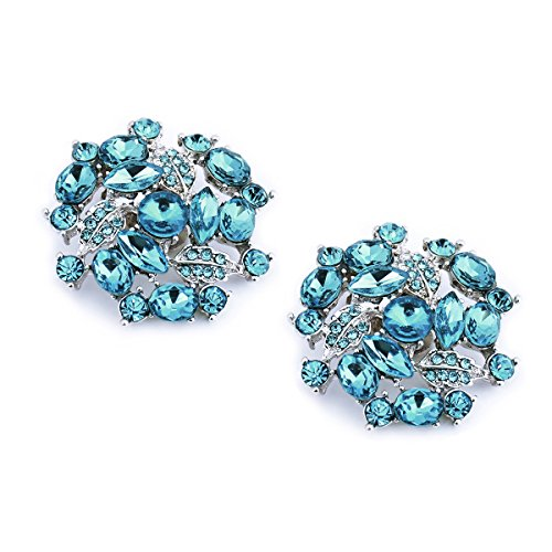 ElegantPark AM Women Rhinestones Decoration Wedding Party Shoe Clips 2 Pcs Amanda Blue
