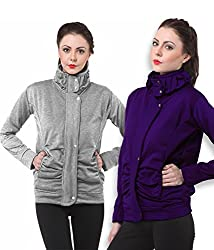 PURYS Light Grey & Purple Fleece Buttoned Sweatshirts Combo of 2