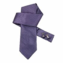 Purple Wedding Ties Men Medium Purple Checkered Woven Microfiber Tie Cufflinks Tie Set Business Necktie Set DAB1085