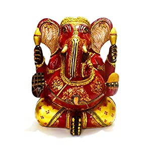 Wood Sculpture- Elephant God Figurine Diwali Gifts: Home & Kitchen