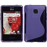 PhoneNatic Silicone Case LG Optimus L3 2 - Purple - e430 PhoneNatic TPU Silicone Cover cover + 2x screen protector