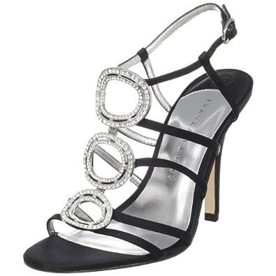 Ivanka Trump Women's Asteria Black Satin Ornamented T Strap Sandal,Black Satin,5 M US