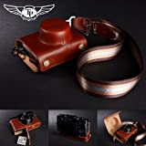 Tan Handmade Genuine Camera Full Leather Case Bag Cover for Fuji X10 & X20 (Bottom Open-able)