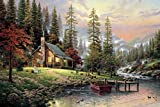 Van Eyck Pastoral Mountain Landscape Prints on Canvas Linen Pictures Oil Painting Trees for Living Room Art Wall Decor Thomas Paintings Disne Prints Framed HD-130