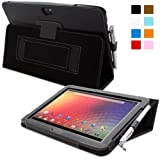 Snugg® Nexus 10 Case - Smart Cover with Flip Stand & Lifetime Guarantee (Black Leather) for Nexus 10