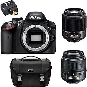 Nikon D3200 24.2 MP Digital SLR Camera Bundle with 2 Nikkor Zoom Lens, Mobile Adapter and Carrying Case (Black) (Certified Refurbished)