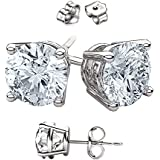 Unisex 925 Sterling Silver Round Stud Earrings. Top Quality Cz Round Stones