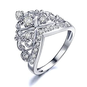 princess 18k white gold plated sterling