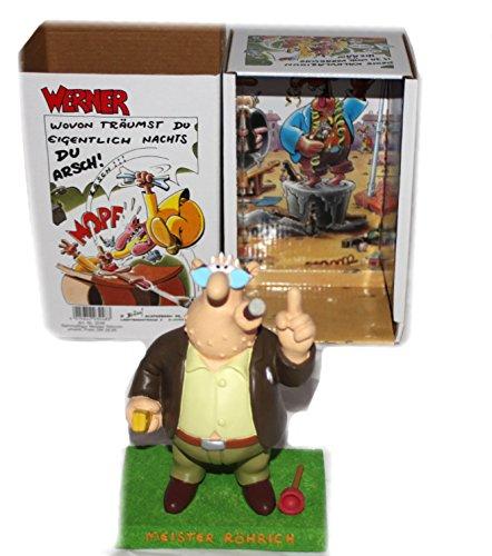 groe-Meister-Rhrich-Sammelfigur-bekannt-aus-den-Werner-Comics-und-Filmen-Rrich-mit-dem-charakteristischen-Zigarrenstumpen-im-Mundwinkel-Zollstock-in-der-rechten-Hand-die-linke-Hand-mahnend-erhoben-neb