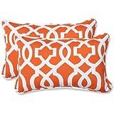 Pillow Perfect Outdoor New Geo Rectangular Throw Pillow, Orange, Set of 2