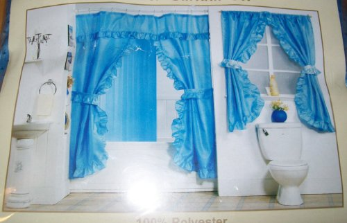 best buy blue double swag fabric shower curtain set with matching window curtain online shop