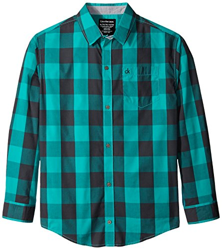 Calvin Klein Big Boys' Radio Block Check Woven Shirt, Spectra, Medium