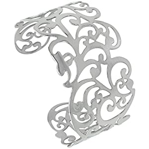 Stainless Steel Cuff Bracelet for Women for Women Floral Vine Cut-out pattern 1 1/2 inch wide, size 7.5 inch
