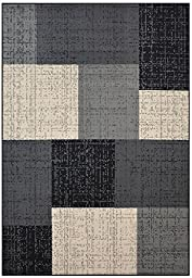 Modela Collection Geometric Abstract Area Rugs New Vibrant Colors (Grey Black, 4\'9\