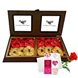 Valentine Chocholik's Premium Gifts - Divine Rocks Treat With Love Card And Rose