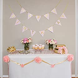 Pastel Pink and Gold Perfection Happy Birthday Bunting Banner with Gold Foil Letters and Gold Foil Ribbon. from The Madynn Company