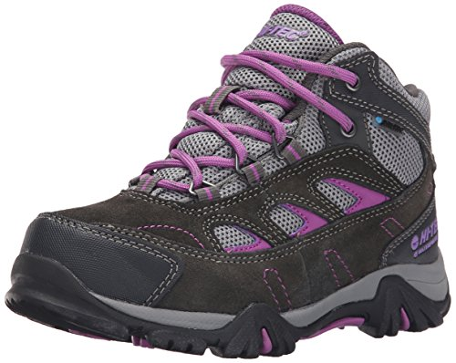 Hi-Tec Logan Waterproof JR Hiking Boot (Little Kid/Big Kid), Charcoal/Grey/Orchid, 5 M US Big Kid