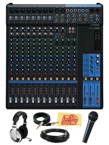 Yamaha Mg16 16-Channel Mixing Console Bundle With Vocal Mic, Headphones, Xlr Cable, Instrument Cable, And Polishing Cloth