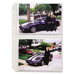 Clear Photo Pages for Four 5x7 Photos, 3-Hole Punched, 11-1/4 x 8-1/2, 50/Box, Sold as 1 Box