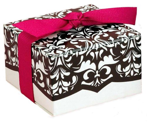 Black And White Damask Favor Boxes : Black and white favor gift boxes pack elegant