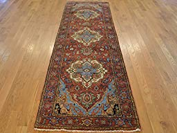 3 X 8 HAND KNOTTED RUST RED ANTIQUED FINE SERAPI HERIZ ORIENTAL RUG G20251