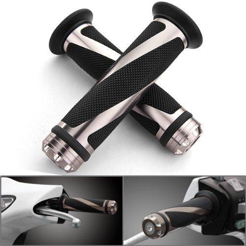 2 pic Universal Gunmetal Motorcycle Grips with Billet Aluminum Bar End Cap Plug Slider For 7/8