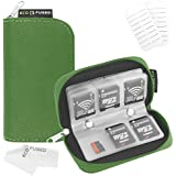 Memory Card Carrying Case - Suitable for SDHC and SD Cards - 8 Pages and 22 Slots - ECO-FUSED Microfiber Cleaning Cloth Included (Green)
