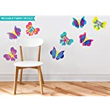 Butterfly Fabric Wall Decals, Set Of Eight Beautiful Butterflies In Various Colors And Patterns, Repositionable...