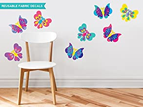 Sunny Decals Butterfly Fabric Wall Decals Set of 8