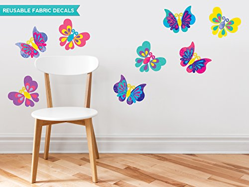 Sunny Decals Butterfly Fabric Wall Decals (Set of 8)
