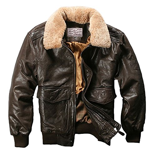Avirex fly air force flight jacket fur collar genuine leather jacket men black brown sheepskin coat men winter bomber jacket men (L, Brown)