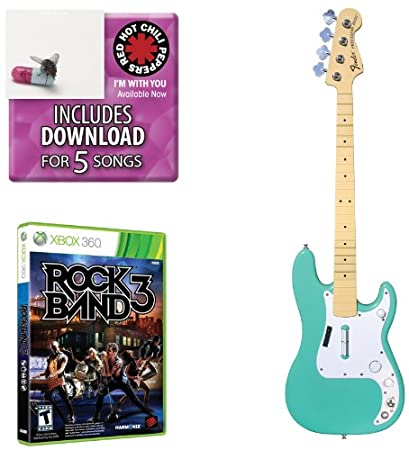Mad Catz Rock Band 3 Bass Bundle - Includes: Red Hot Chili Peppers Bonus Tracks, Full Game, and Fender Precision Bass Guitar Controller Sea Foam Green for Xbox 360