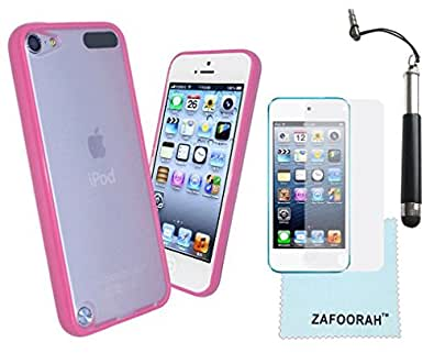 ZAFOORAH® Case Cover for Apple iPod Touch 5 5th Generation (Launched Sep 2012) + Free Stylus+Screen Protector+Microfiber Cloth (Bumper Transparent - HOT PINK)