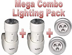 "** Mega Combo Pack... x2 Safe T Light 3-in-1 Rechargeable Torch, Automatic Night Light & Emergency Power Cut Light - PLUS - X2 Stick n Click LED Bright Lights - Click Push On Off Light ... Safe T Light as seen on BBC's ""Dragons Den"" by safe t light"