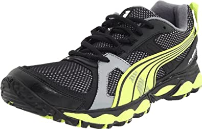 PUMA Men's Fox Trail Running Shoe,Black/Steel Grey/Lime Punch,10 D US