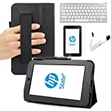 BIRUGEAR SlimBook Leather HandStrap Folio Stand Case with Screen Protector & Keyboard for HP Slate 7 (2800) - 7 inch Android Tablet