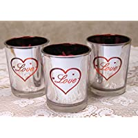 Love Candle Holders Set Of 3 Metallic Silver Votive Candle Holders Red Hearts And Love Design On Front Romantic...