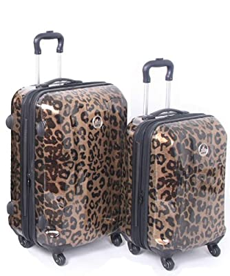 Rock Wyoming Hard Shell Four Wheel Spinner Printed Trolley Suitcase 80cm in Metallic Gold Leopard Print