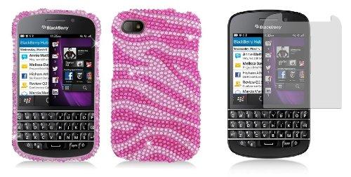 Blackberry Q10 - Premium Accessory Kit - Pink Zebra Stripes Diamond Bling Case + Atom Led Keychain Light + Screen Protector