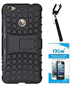 TBZ Hard Grip Rubberized Kickstand Back Cover Case for Letv Le 1s with Selfie Stick Monopod with Aux and Tempered Screen Guard -Black