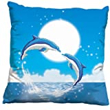 A Pair of Dolphin Fall in Love 3D Stamped Cross Stitch Cushion