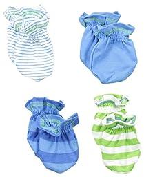 Gerber Baby-Boys Newborn 4 Pack Mittens - Stripes, Blue, 0-3 Months