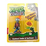 Plants vs Zombies Figures 3'' Conehead Zombie with Sunflower フィギュア ダイキャスト 人形(並行輸入)