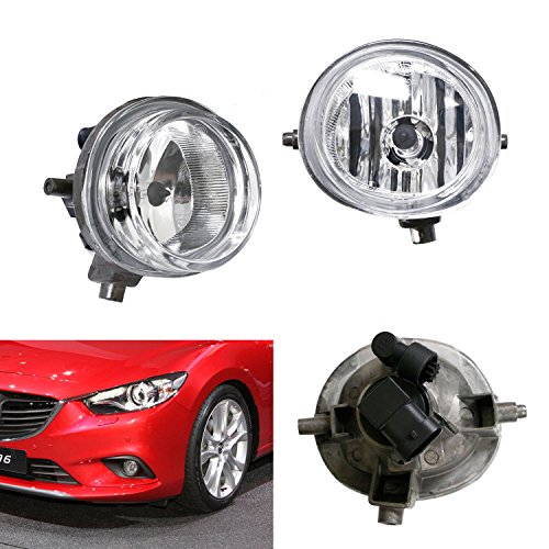 iJDMTOY One Pair Driver Passenger Sides Fog Light Lamps w/ H11 Halogen Bulbs For Mazda 2 3 6 CX-5 CX-7 MX-5, etc (Mazda 3 Fog Lamp compare prices)