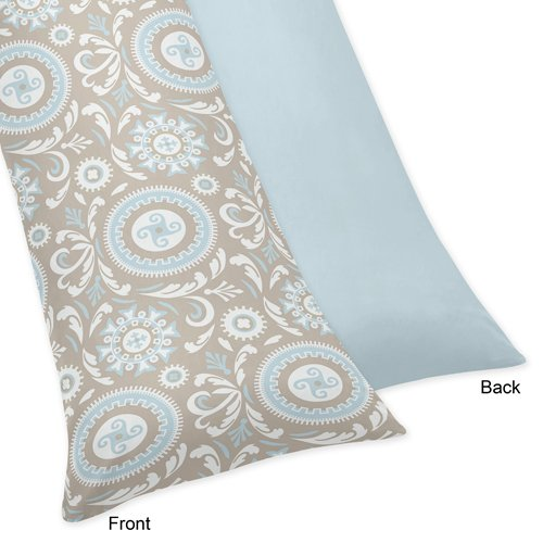 Blue And Taupe Hayden Full Length Double Zippered Body Pillow Case Cover By Sweet Jojo Designs front-229549