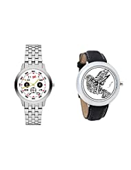 Gledati Men's White Dial And Foster's Women's White Dial Analog Watch Combo_ADCOMB0001810